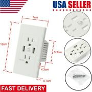 Dual Usb Port Wall Socket Charger Ac Power Receptacle Outlet Plate Panel Lot Usa