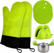Oven Mitts And Pot Holder Gloves Extra Long Silicone Heat Resistant W 2 Trivets