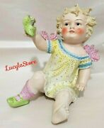 Vintage Conta Boehme Marked Bisque Porcelain Piano Baby Figurine Girl With Shoe