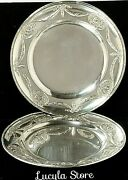1896 Antique Bucholz And Zelt Germany 800 Silver 2 Plates Decor Angels Bow 294 G