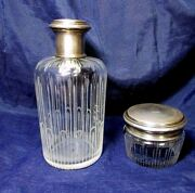 G. Keller Antique French Set Perfume Bottle And Powder Box Sterling Crystal 1800's