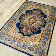 Yilong 4and039x6and039 Blue Handknotted Silk Area Rugs Home Interior Carpets Z517a