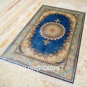 Yilong 4and039x6and039 Blue Silk Home Indoor Rugs Handmade Carpets Hand Knotted Z518a