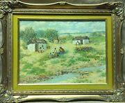 Antique Hungarian Fent Oil On Canvas Landscape Painting Signed