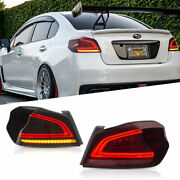 Led Tail Lights For Subaru Wrx 2013-2020 Sequential Signal Smoke/red Replace Oem