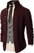 H2h Mens Casual Slim Fit Cardigan Cable Knitted Sweater Thermal Button Down Clos