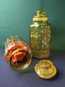 Amber Glass Kitchen Canister - Set Of 2
