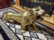 Vintage Beautiful Solid Brass Tiger Statue
