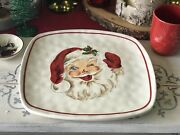 Mud Pie Christmas Vintage Collection Square Winking Santa Cookie Platter New