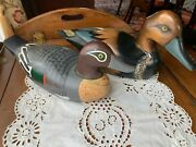 Two Hand Carved And Painted Wood Duck Decoys, Mid To Late 20th Century