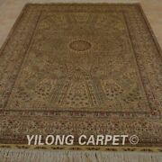 Yilong 5and039x7.5and039 Golden Silk Area Rugs Handknotted Antique Floor Carpets 1043