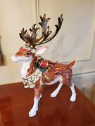 Rare Retired Fitz And Floyd Classic Christmas Reindeer Standing 17andrdquo Mint