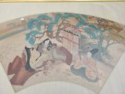 Fine Antique Chinese Fan Textile Painting 18th 19th C Qing Dynasty Scene