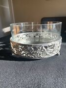 Vintage Seagull Pewter Etain Zin Serving Bowl Stand Woth Glass Insert