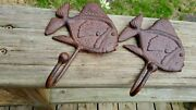 Two New Rust Red Finish Brass Fish Style Towel Hooks