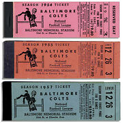 Lot Of 3 Colts Season Empty Ticket Books 1954, 55 And 57