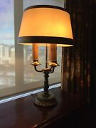 Antique Crown Solid Brass And Onyx Table Lamp