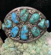 Navajo Andldquojimmie Silversmithandrdquo Sterling Silver And Turquoise Cuff Bracelet 66.7g
