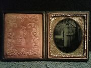 Ambrotype Of Civil War Soldier W/rifle And Bayonet In Caped Over Coat, 6th Plate