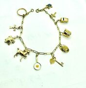 Vintage 14k Solid Yellow Gold Lucky Charm Bracelet Delicate Fine Jewelry