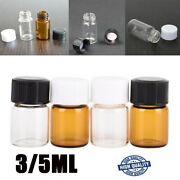 3/5ml Glass Clear Amber Mini Medicine Bottles Sample Vials Containers Screw Lid