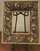 Vintage French Gold Gilded And Gesso Deep Core Wood Picture Frame Scrolling Leaves