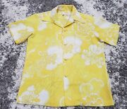 Hale Hawaii Vintage 60and039s Yellow Floral Hawaiian Shirt Graphic Button Down