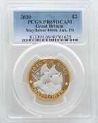 2020 Royal Mint Mayflower Piedfort Andpound2 Two Pound Silver Proof Coin Pcgs Pr69 Dcam
