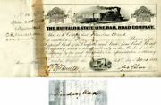 Thurlow Weed Signs Buffalo And State Line Rail Road Company - Stock Certificate