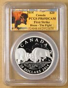 2014 Canada Silver 20 Dollar Coin And039bison The Fightand039 Pcgs Pr69dcam