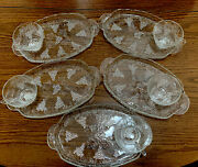 Vintage Mid Century Anchor Hocking Grape And Leaves Snack Set 5- Place Set