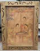Circa Early 19th Century Chinese Women Playing Weiqi Framed Silk Painting