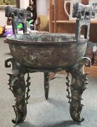 Late 19th Century Chinese Bronze Ding With Tiger Handles And Bird Form Legs