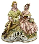 Large Capodimonte Crystallus Porcelain Lovers Noble Couple Figural Group Statue