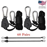 60pc 1/8 Rope Ratchet Hanger For Led Grow Light Fan Carbon Filter Hydroponic Ir