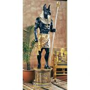 97.5 Ancient Egyptian Jackal God Protector Of The Palace Anubis Statue And Base