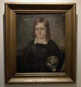 Antique 19th Century American Folk School Painting Portrait Young Girl With Dog
