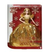 Barbie 2020 Holiday Doll 12inch Blonde Long Hair Golden Gown Gift Doll For Child