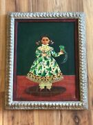 Painting Of Girl By Agapito Engel Cifuentes Mexican Early 20th Century
