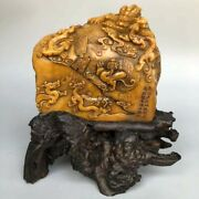 5 Inch Old Top Jewel Tianhuang Jade Seal Cutting Wealth Dragon Phoenix Seal