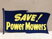 Vintage 1950and039s Department Store Flag Sign Banner Save Power Mowers