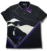 495 Purple Label Golf Cotton Polo Shirt Size Large Made In Italy