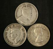 Lot Of 3 Mixed Date Canada Silver 50 Cents - 1910,1939,1964 - Free Ship Us