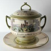 Antique Mettlach Covered Punch Tureen With Underplate, With Scenes Of The Rhine