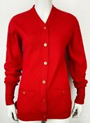 Red Cashmere Cardigan Sweater Gold Cc Buttons 40 1995 Autumn Fall Vintage