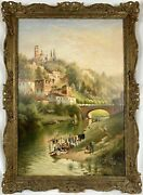 Large 19th C. 1882 Italian River Landscape W/ Figures Signed Oil On Canvas