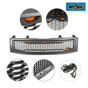 Eag Front Hood Upper Titan Grille Replacement Grill Led Fit 04-07 Nissan Titan