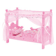 Miniature Plastic Bed Nursery Furniture Toys For Mellchan Baby Dolls Pink