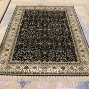 Yilong 4.5and039x6.5and039 Blue Hand Knotted Silk Rug All-over Oriental Floral Carpet 203a