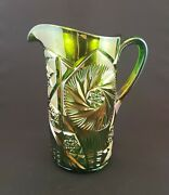 Cambridge Carnival Glass Buzz Saw Double Star Emerald Jug And 4 Tumblers